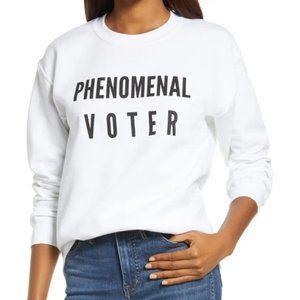 NEW White Phenomenal Voter Graphic Sweatshirt Top